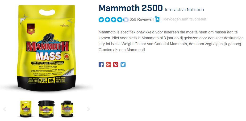 Zak met Mammoth 2500 Mass van Interactive Nutrition