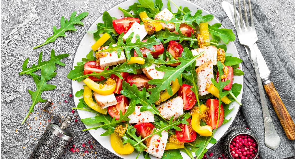 simpele salade met kip