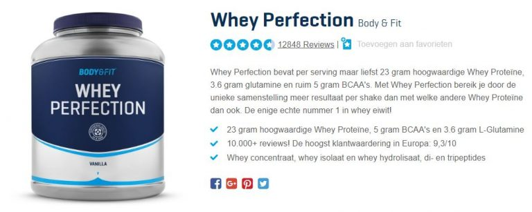 Pot met Whey Perfection van Body & Fit