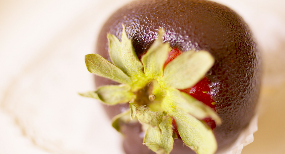 aardbei in chocolade
